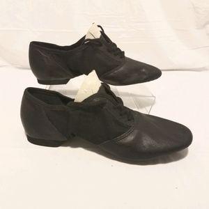 Capezio black leather dance, jazz shoes size 8.5